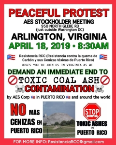 April 18, Arlington, Virginia, protest toxic coal ash contamination in Puerto Rico