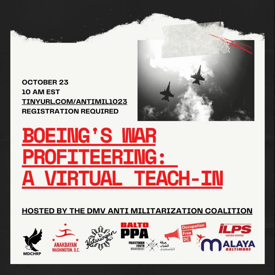 Boeing's war profiteering: a virtual teach-in, Oct. 23